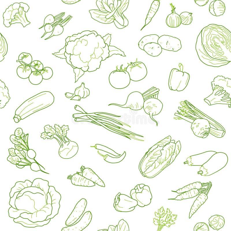 Το άνευ ραφής πρότυπο σχεδίου σχεδίων τροφίμων Vegan, σκιαγράφησε το ύφος r απεικόνιση αποθεμάτων