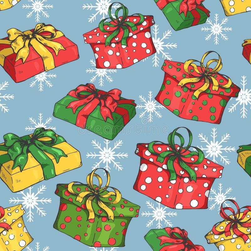 Το άνευ ραφής σχέδιο διακοπών με παρουσιάζει/giftboxes/Christmass και νέο σχέδιο έτους απεικόνιση αποθεμάτων