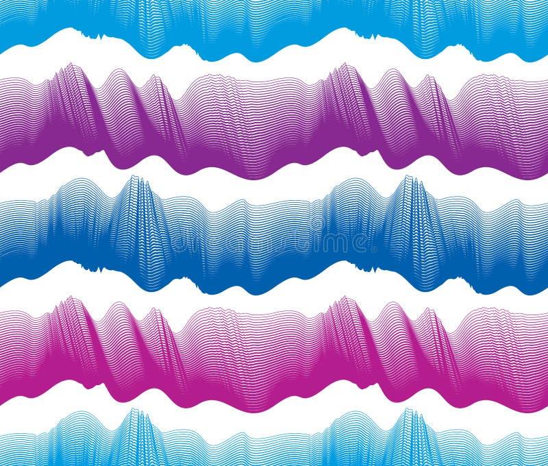 Το άνευ ραφής σχέδιο κυμάτων, διανυσματική περίληψη γραμμών καμπυλών νερού επαναλαμβάνει το ατελείωτο υπόβαθρο, ζωηρόχρωμα ρυθμικ απεικόνιση αποθεμάτων
