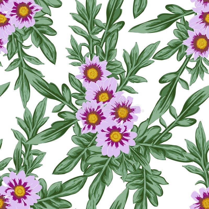 Το άνευ ραφής σχέδιο λουλουδιών ελευθερίας, κομψά ευγενή καθιερώνοντα τη μόδα λουλούδια, Floral υπόβαθρο λιβαδιών για το κλωστοϋφ διανυσματική απεικόνιση