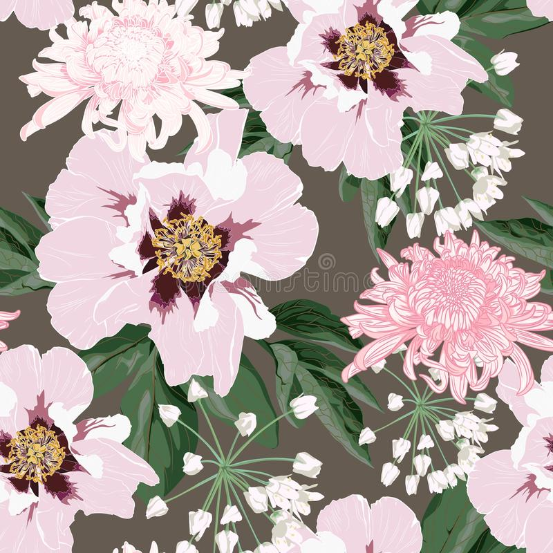 Το άνευ ραφής σχέδιο λουλουδιών με όμορφους ρόδινους peony και το χρυσάνθεμο ανθίζει στο εκλεκτής ποιότητας καφετί πρότυπο υποβάθ διανυσματική απεικόνιση