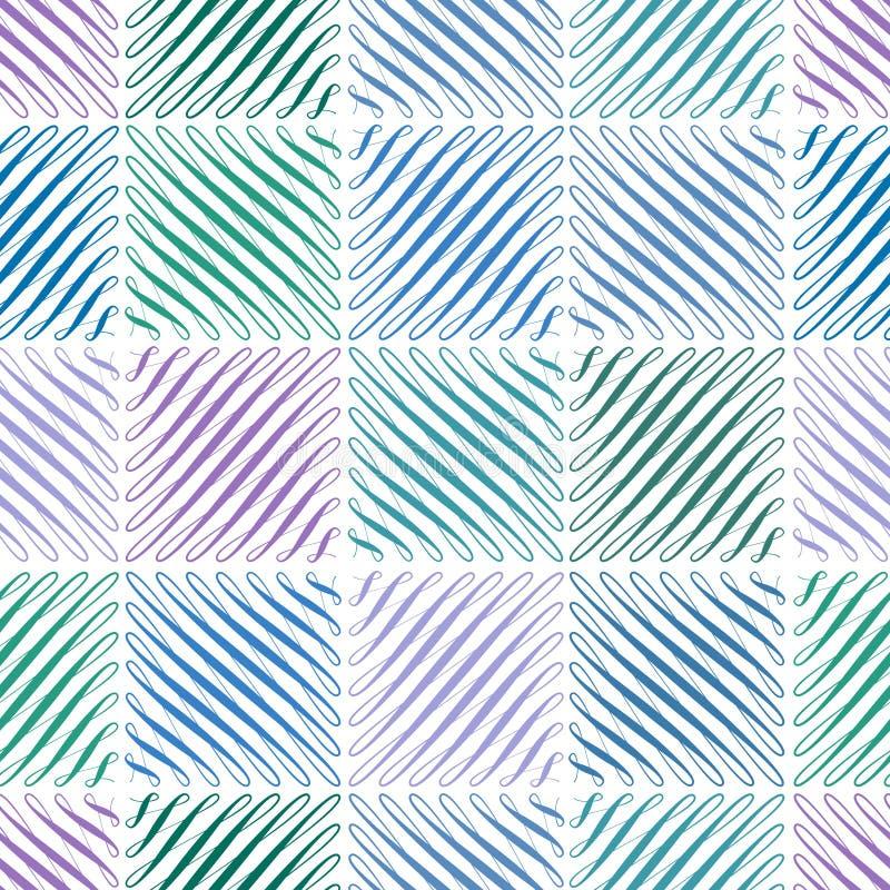 Το άνευ ραφής σχέδιο με ακμάζει στην τετραγωνική μορφή, το επαναλαμβανόμενο πράσινο και μπλε υπόβαθρο κυλίνδρων, καθολικό σκηνικό απεικόνιση αποθεμάτων