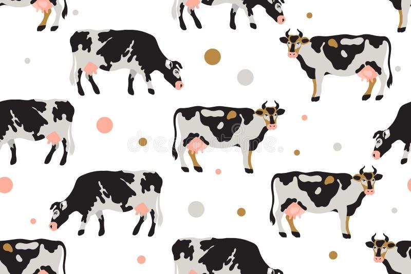 Το άνευ ραφής σχέδιο με το γάλα επισήμανε τις αγελάδες στο Μαύρο, άσπρος, γκρίζος, χρυσός και ρόδινος Γεωργία, καλλιέργεια, του χ διανυσματική απεικόνιση