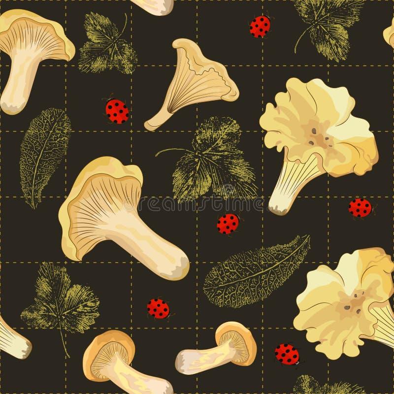 Το άνευ ραφής σχέδιο με δασικά chanterelles μανιταριών σε ένα σκοτεινό υπόβαθρο με τα γραμματόσημα του φθινοπώρου φεύγει διανυσματική απεικόνιση