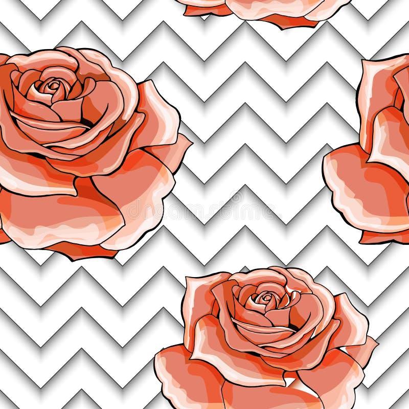 Το άνευ ραφής σχέδιο με το ροζ εικόνας αυξήθηκε λουλούδια σε ένα γεωμετρικό υπόβαθρο απεικόνιση αποθεμάτων
