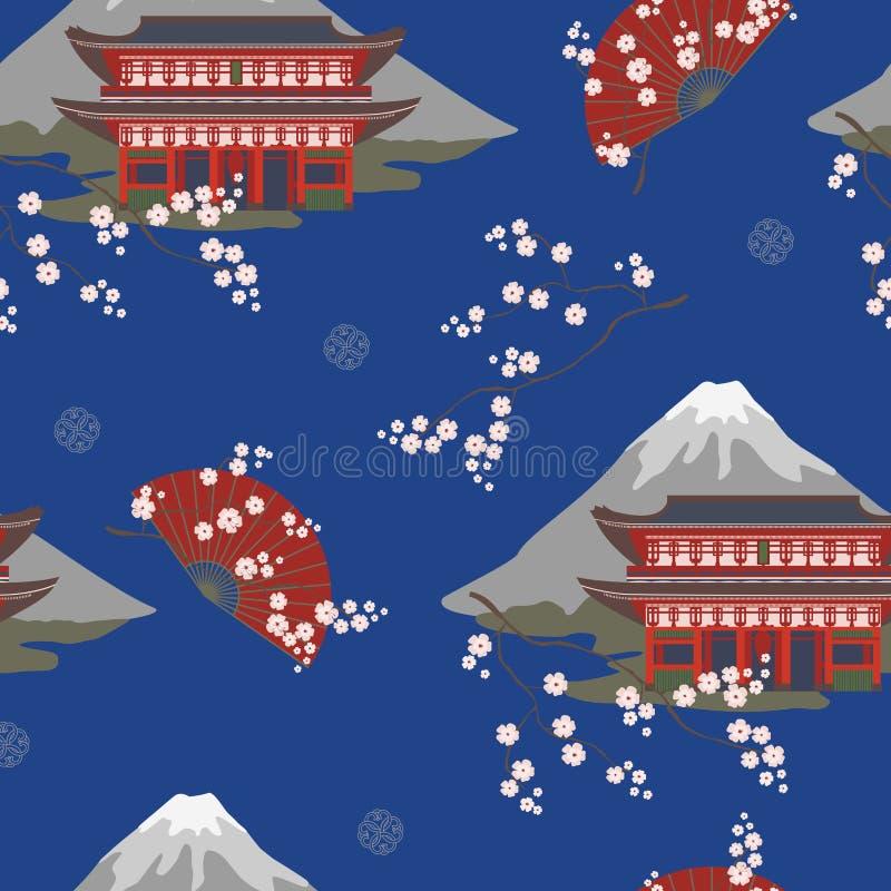 Το άνευ ραφής σχέδιο με την ασιατική παγόδα, με ένα βουνό, κεράσι ανθίζει, ανεμιστήρες ελεύθερη απεικόνιση δικαιώματος