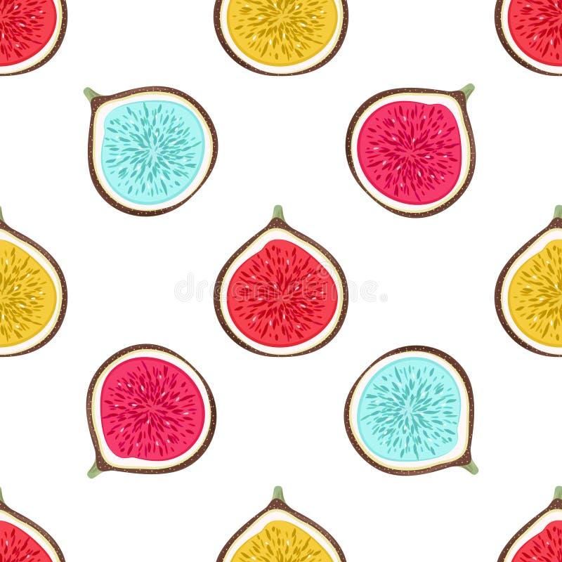 Το άνευ ραφής σχέδιο με την περίληψη τα σύκα μισών Υγιές επιδόρπιο Fruity υπόβαθρο επανάληψης συρμένο χέρι καρπών απεικόνιση αποθεμάτων