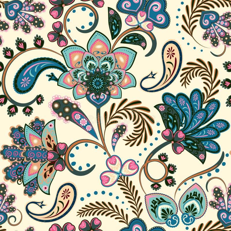 Το άνευ ραφής σχέδιο με τη φαντασία ανθίζει, φυσική ταπετσαρία, floral απεικόνιση μπουκλών διακοσμήσεων Χέρι τυπωμένων υλών του P απεικόνιση αποθεμάτων