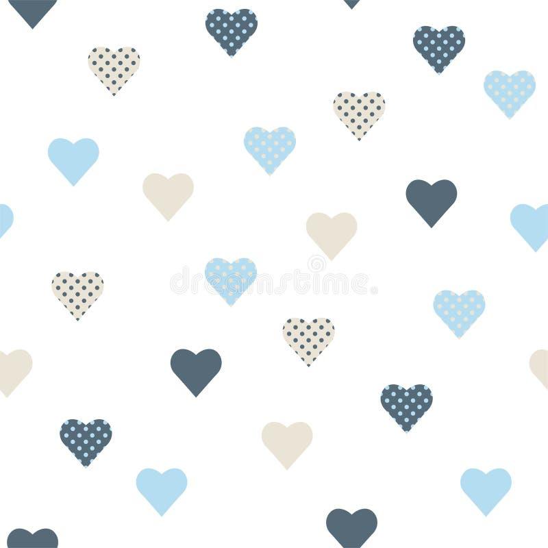 Το άνευ ραφής σχέδιο με τις μπλε και γκρίζες καρδιές σημείων Πόλκα διάνυσμα διανυσματική απεικόνιση