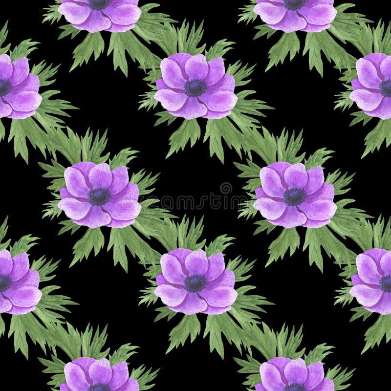 Το άνευ ραφής σχέδιο με το watercolor ανθίζει την απεικόνιση Anemone φύλλων κλαδάκι του Floral φύλλων κλωστοϋφαντουργικού προϊόντ διανυσματική απεικόνιση
