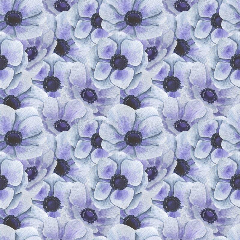 Το άνευ ραφής σχέδιο με το watercolor ανθίζει την απεικόνιση Anemone φύλλων κλαδάκι του Floral φύλλων κλωστοϋφαντουργικού προϊόντ ελεύθερη απεικόνιση δικαιώματος
