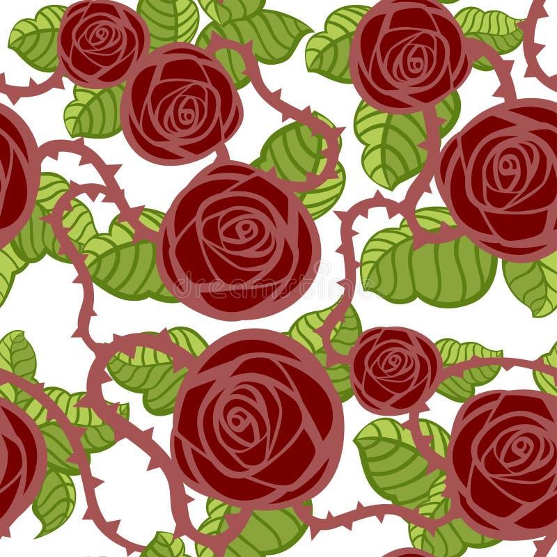 Το άνευ ραφής σχέδιο σκούρο κόκκινο αυξήθηκε και πράσινα φύλλα με τα αγκάθια Floral σχέδιο καρτών χαιρετισμών Διαφορετικός των μο ελεύθερη απεικόνιση δικαιώματος