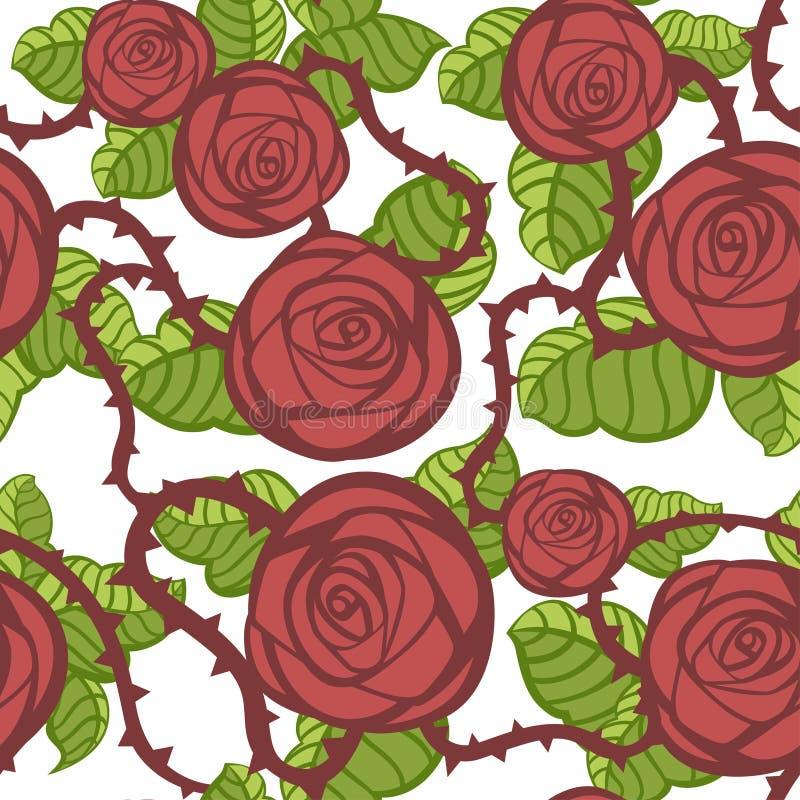 Το άνευ ραφής σχέδιο του κοκκίνου αυξήθηκε και πράσινα φύλλα με τα αγκάθια Floral σχέδιο καρτών χαιρετισμών Διαφορετικός των μορφ ελεύθερη απεικόνιση δικαιώματος