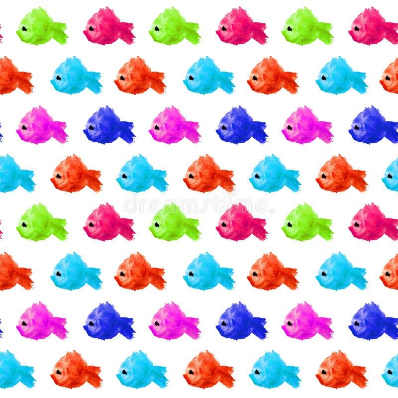 Το άνευ ραφής σχέδιο των ζωηρόχρωμων και διαφορετικών ψαριών piranha watercolor χρωμάτων που γίνονται υπό μορφή λεκέδων, λεκέδες  διανυσματική απεικόνιση