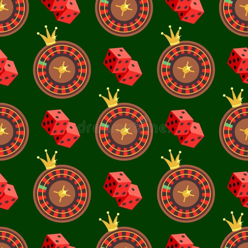 Το άνευ ραφής σχέδιο χαρτοπαικτικών λεσχών και πόκερ με χωρίζει σε τετράγωνα και ρουλέτα σε πράσινο διανυσματική απεικόνιση
