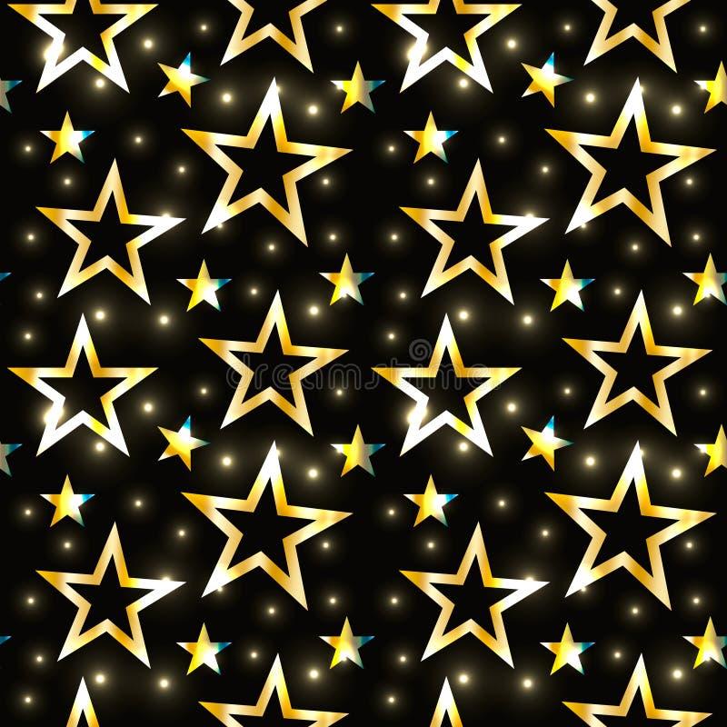 Το άνευ ραφής σχέδιο Χριστουγέννων με τα διάφορα χρυσά αστέρια και να λάμψει ακτινοβολεί στο σκοτεινό υπόβαθρο Ο χρυσός πολυτέλει διανυσματική απεικόνιση