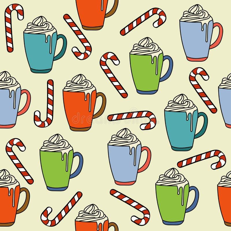 Το άνευ ραφής σχέδιο Χριστουγέννων με τις καυτές κούπες σοκολάτας και η καραμέλα μπορούν ελεύθερη απεικόνιση δικαιώματος
