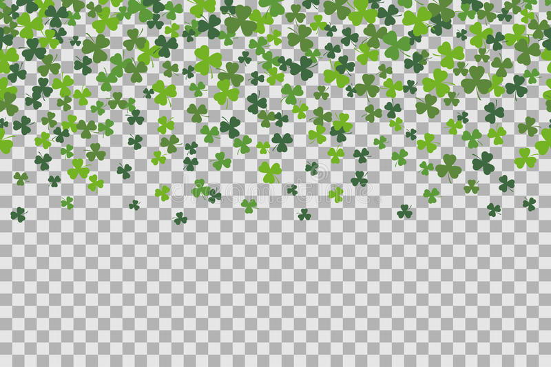 Το άνευ ραφής σχέδιο με το τριφύλλι βγάζει φύλλα για τον εορτασμό ημέρας του ST Patricks στο διαφανές υπόβαθρο διανυσματική απεικόνιση