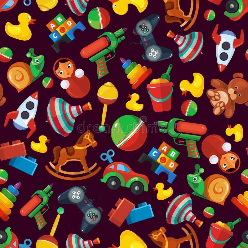 Το άνευ ραφής σχέδιο παιχνιδιών για τα παιδιά απομονώνει στο σκοτεινό υπόβαθρο απεικόνιση αποθεμάτων
