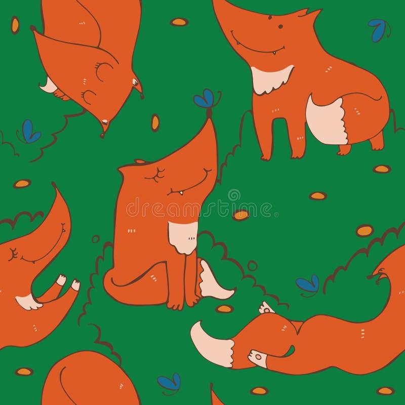 Το άνευ ραφής σχέδιο συρμένων των χέρι χαριτωμένων αλεπούδων πιπεροριζών σε διαφορετικό θέτει διανυσματική απεικόνιση