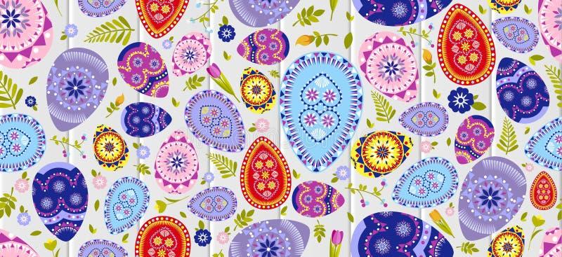 Το άνευ ραφής υπόβαθρο Πάσχας σχεδίων ευτυχές χρωμάτισε τα αυγά, διακόσμηση άνοιξη, άδεια, στοιχείο σχεδίου λουλουδιών τουλιπών σ ελεύθερη απεικόνιση δικαιώματος