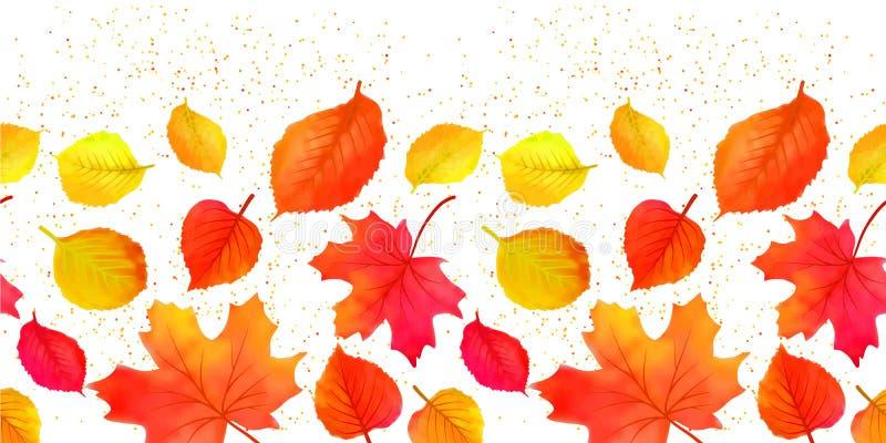 Το άνευ ραφής φωτεινό φθινόπωρο πτώσης αφήνει τα σύνορα διανυσματική απεικόνιση
