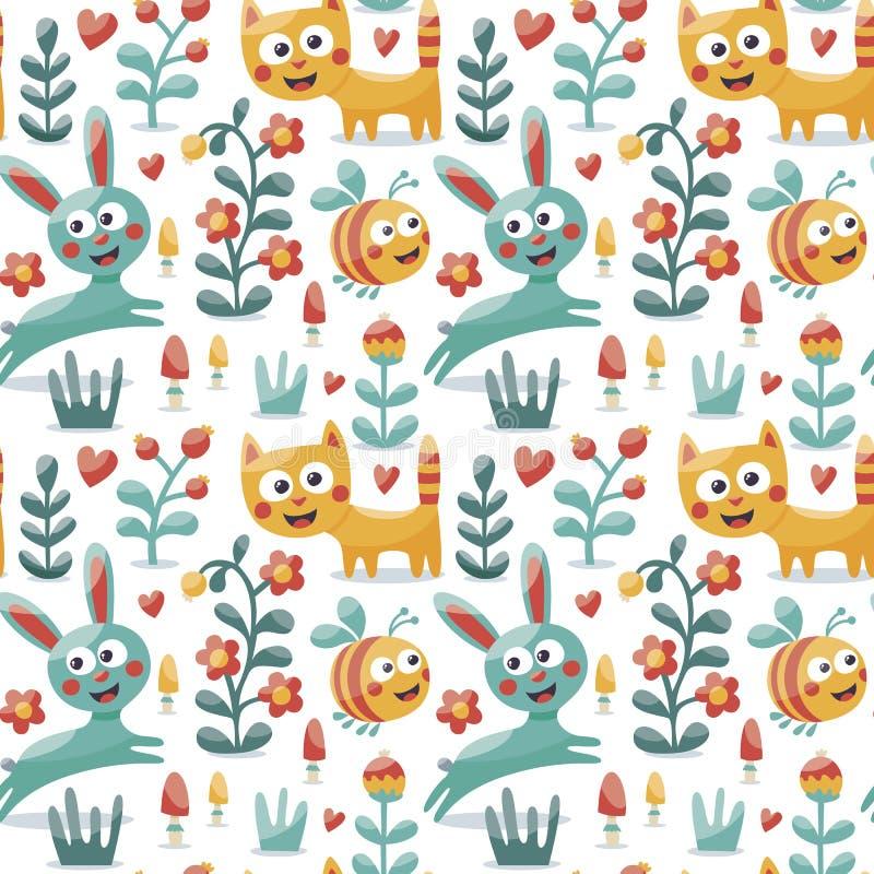 Το άνευ ραφής χαριτωμένο ζωικό σχέδιο έκανε με τη γάτα, λαγοί, κουνέλι, μέλισσα, λουλούδι, φυτό, φύλλο, μούρο, καρδιά, φίλος, flo ελεύθερη απεικόνιση δικαιώματος