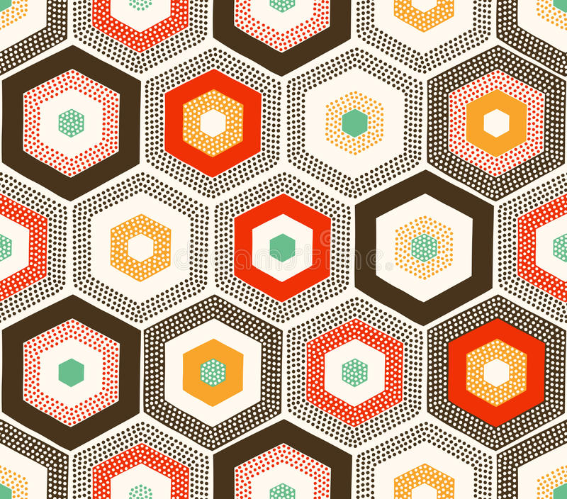 Το άνευ ραφής doodle διαστίζει το εξαγωνικό σχέδιο διανυσματική απεικόνιση