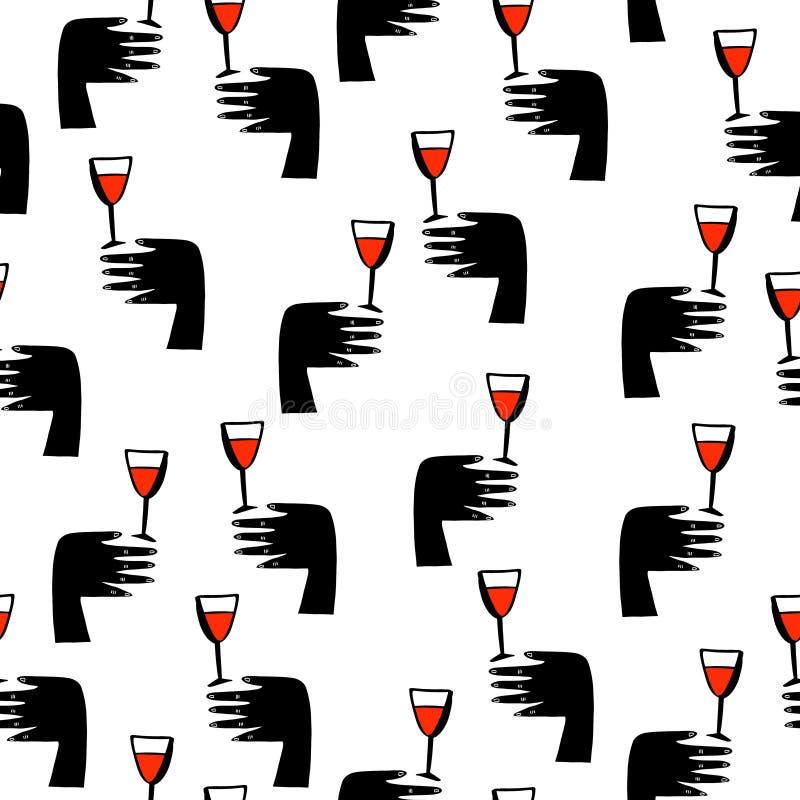 Το άνευ ραφής doodle σκιαγραφεί το σχέδιο με το γυαλί και το χέρι κρασιού r διανυσματική απεικόνιση