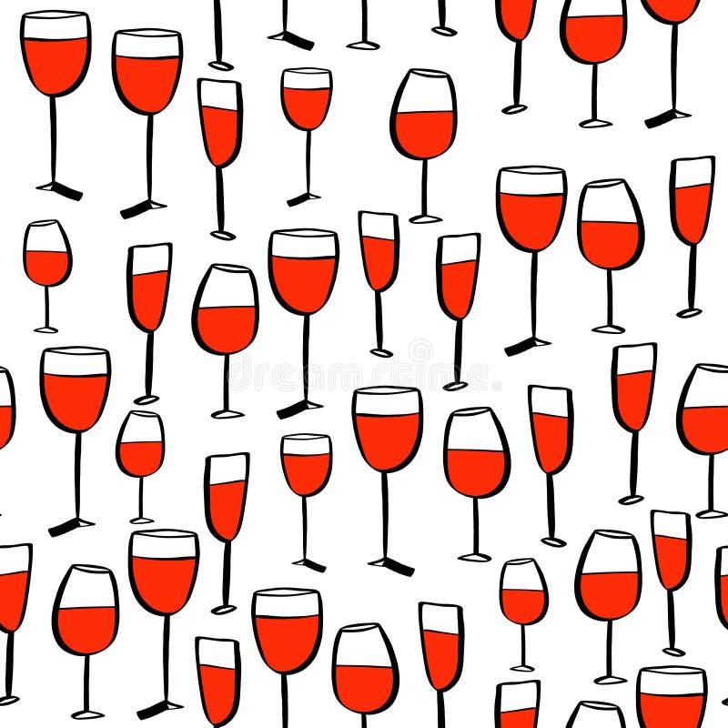 Το άνευ ραφής doodle σκιαγραφεί το σχέδιο με το γυαλί κρασιού r απεικόνιση αποθεμάτων