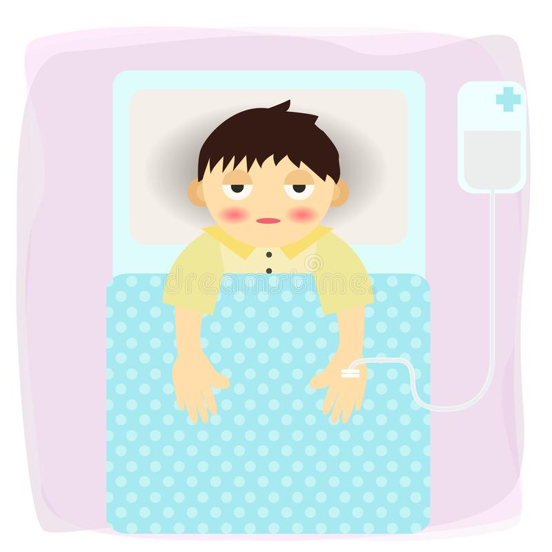 Το άρρωστο άτομο αναγνωρίζει στα κινούμενα σχέδια νοσοκομείων - διάνυσμα απεικόνιση αποθεμάτων
