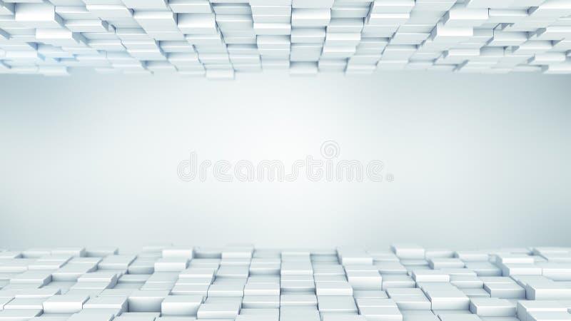 Το άσπρο αφηρημένο υπόβαθρο κιβωτίων τρισδιάστατο δίνει ελεύθερη απεικόνιση δικαιώματος