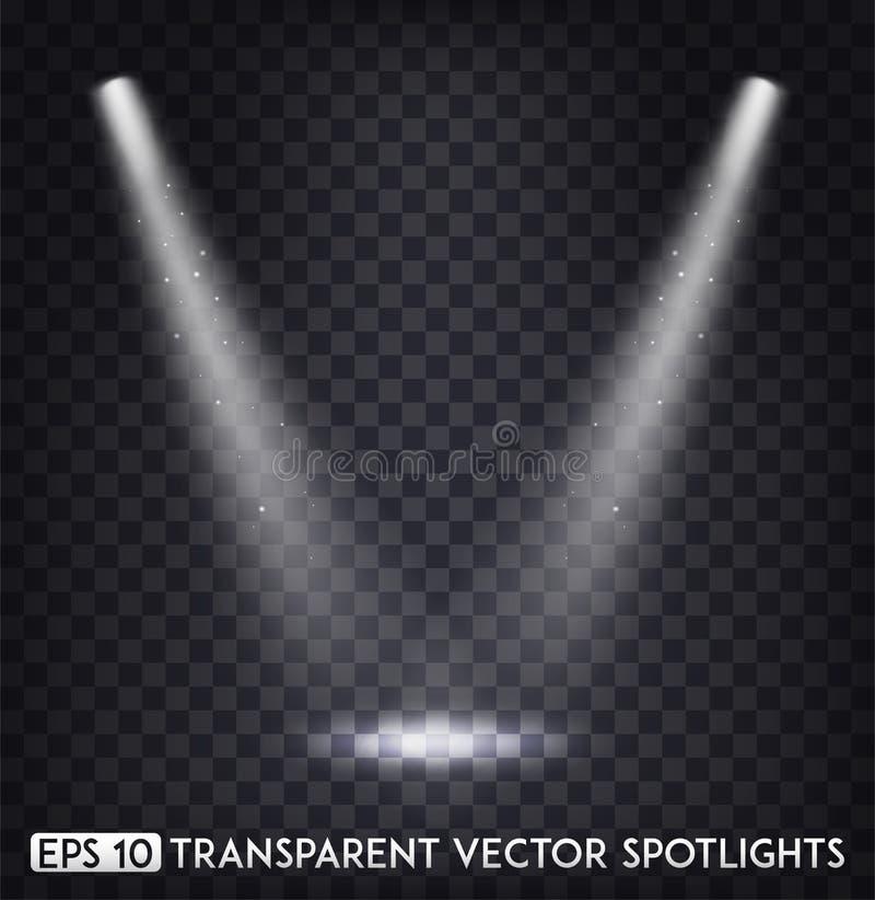 Το άσπρο διαφανές διανυσματικό σημείο ανάβει/επικέντρων επίδραση για το κόμμα, τη σκηνή, το στάδιο, τη στοά ή το σχέδιο διακοπών απεικόνιση αποθεμάτων