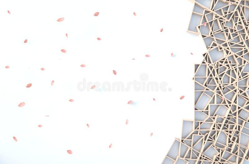 Το άσπρο ντεκόρ υποβάθρου με τον ξύλινο τοίχο ραφιών, κλάδος, πλαίσιο εικόνων, πέταλα φυσά r απεικόνιση αποθεμάτων