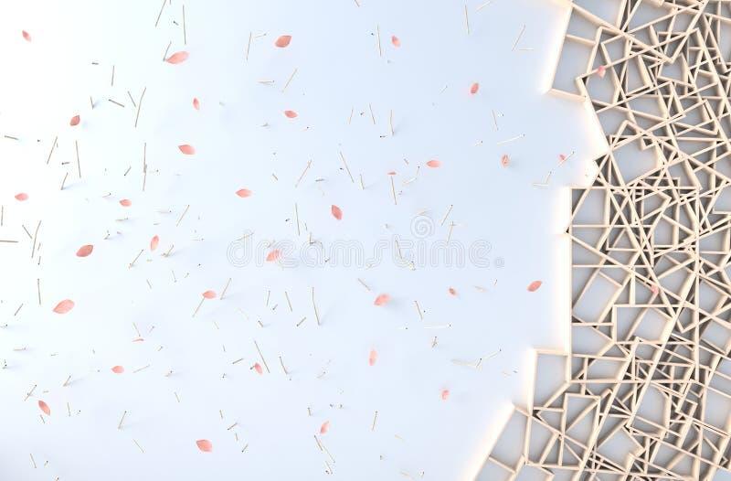Το άσπρο ντεκόρ υποβάθρου με τον ξύλινο τοίχο ραφιών, κλάδος, πλαίσιο εικόνων, πέταλα φυσά r ελεύθερη απεικόνιση δικαιώματος