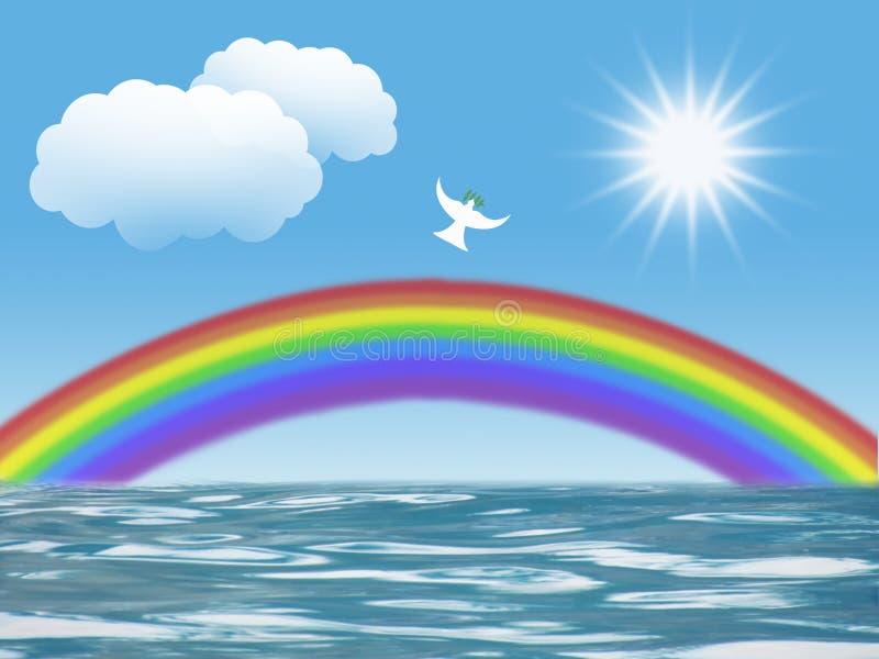 Το άσπρο περιστέρι που πετά στον ήλιο με το ουράνιο τόξο φύλλων ελιών καλύπτει το χριστιανικό σύμβολο της ειρήνης και του ιερού π ελεύθερη απεικόνιση δικαιώματος