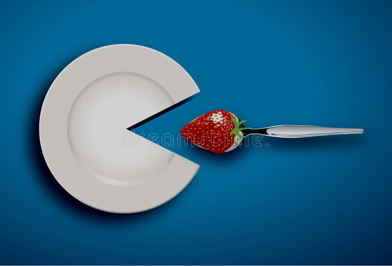 Το άσπρο πιάτο τρώει τη φράουλα με το κουτάλι διανυσματική απεικόνιση