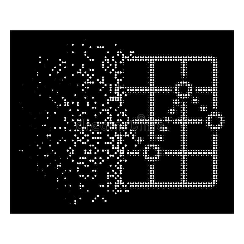 Το άσπρο σπινθήρισμα διέστιξε το ημίτονο εικονίδιο πλοκών πλέγματος διαστιγμένων γραμμών απεικόνιση αποθεμάτων