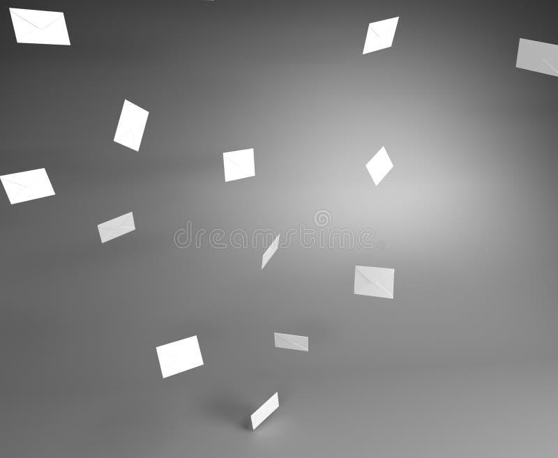 Το άσπρο ταχυδρομείο τυλίγει το πέταγμα στον αέρα στο γκρίζο δωμάτιο απεικόνιση αποθεμάτων