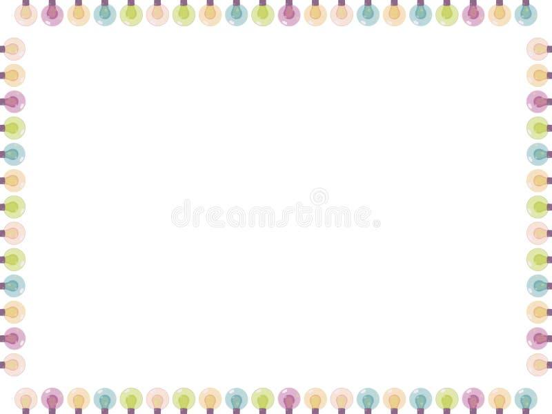 Το άσπρο τετράγωνο ευχετήριων καρτών διακόσμησε τη γιρλάντα του πολύχρωμου χρωματισμένου φωτεινού διανύσματος φαναριών γυαλιού πο ελεύθερη απεικόνιση δικαιώματος