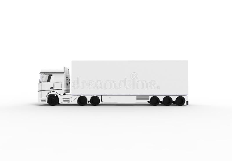 Το άσπρο φορτηγό με το ρυμουλκό διανυσματική απεικόνιση
