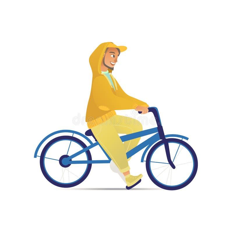 Το άτομο ή ο τύπος οδηγά σε μια διανυσματική απεικόνιση κινούμενων σχεδίων ποδηλάτων ή ποδηλάτων επίπεδη που απομονώνεται διανυσματική απεικόνιση