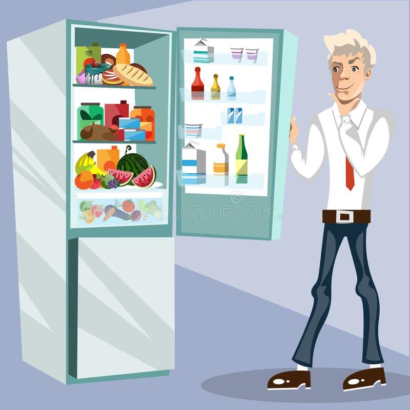 Το άτομο δίπλα στο ψυγείο διανυσματική απεικόνιση