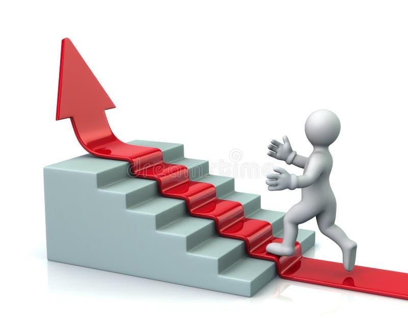 Το άτομο αναρριχείται επάνω στα σκαλοπάτια στο κόκκινο βέλος διανυσματική απεικόνιση
