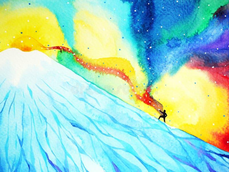 Το άτομο αναρριχείται προς το τοπ βουνό, δύναμη της εστίασης στην επιτυχία, ζωγραφική watercolor ελεύθερη απεικόνιση δικαιώματος