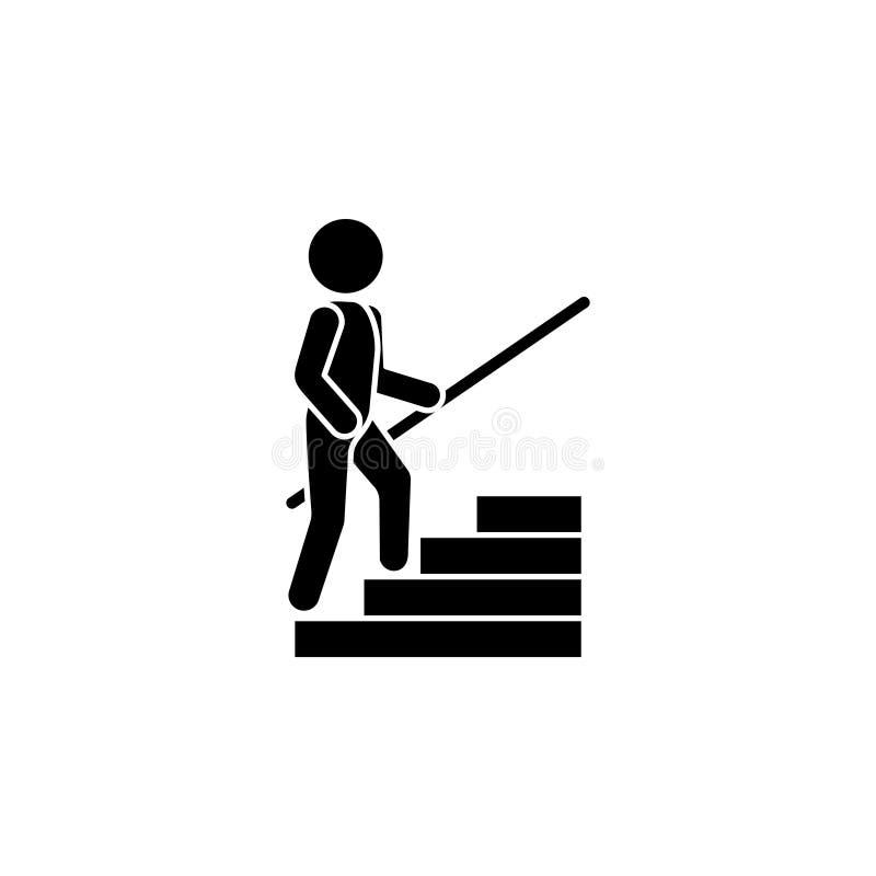 Το άτομο αναρριχείται στα βήματα με ένα κιγκλίδωμα Επάνω εικονίδιο διανυσματική απεικόνιση