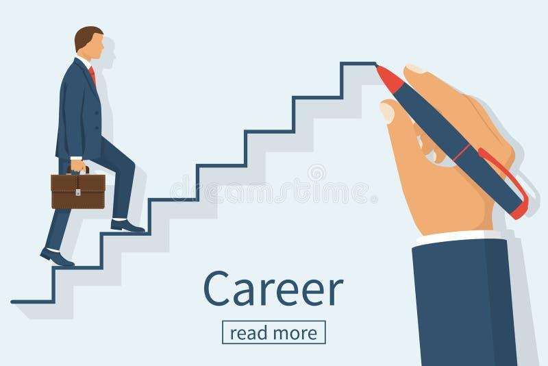 Το άτομο αναρριχείται στη σκάλα σταδιοδρομίας ελεύθερη απεικόνιση δικαιώματος