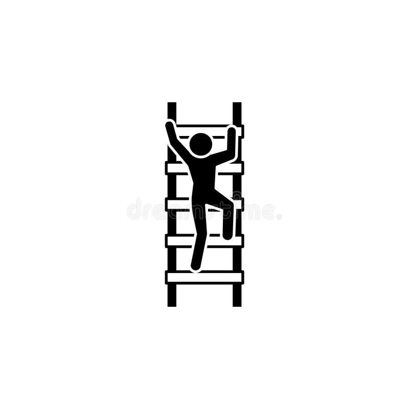 Το άτομο αναρριχείται στο εικονίδιο σκαλοπατιών διανυσματική απεικόνιση
