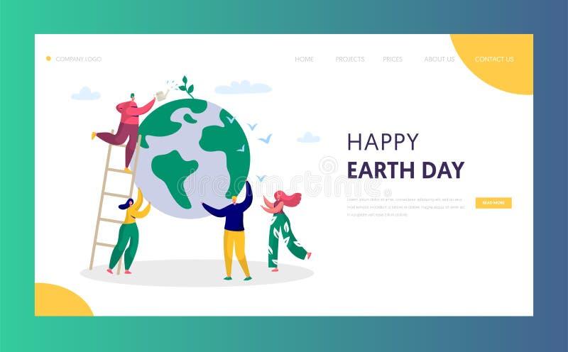 Το άτομο γήινης ημέρας σώζει τους πράσινους πλανητών ανθρώπους σελίδων περιβάλλοντος προσγειωμένος του παγκόσμιου εργοστασίου νερ διανυσματική απεικόνιση