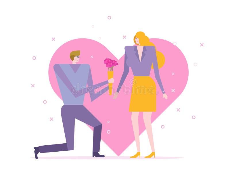 Το άτομο δίνει την ανθοδέσμη αυξήθηκε για το όμορφο κορίτσι στην ημέρα βαλεντίνων ` s διανυσματική απεικόνιση